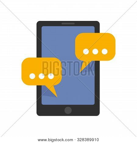 Tablet Sms Chat Icon. Flat Illustration Of Tablet Sms Chat Vector Icon For Web Design