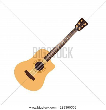 Acoustic Guitar Icon. Flat Illustration Of Acoustic Guitar Vector Icon For Web Design