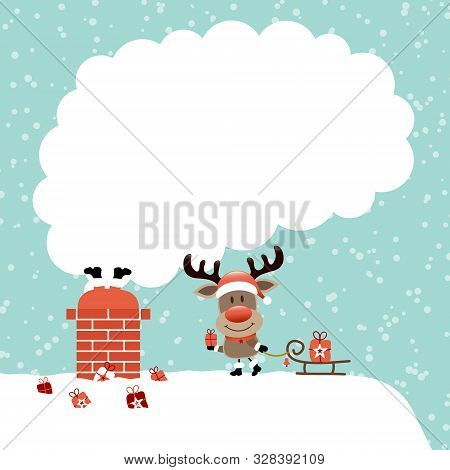 Santa Stuck In Chimney And Reindeer With Sleigh Smoke Snow Turquoise