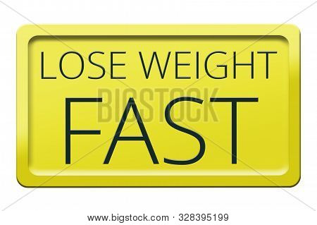 Weight Loss Concept On White Background. Yellow Sign Isolated On A White Background. Sport And Diet