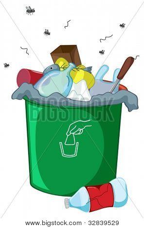 Illustration of a full rubbish bin