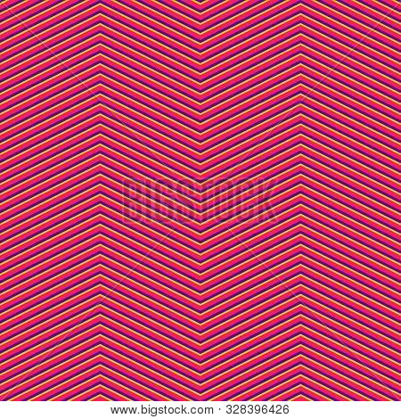 Chevron Seamless Pattern. Vector Texture With Thin Zigzag Lines, Diagonal Stripes. Colorful Abstract