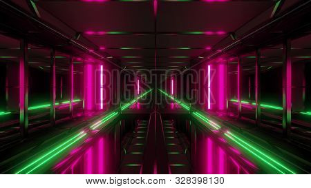Endless Futuristic Scifi Science-fiction Tunnel Corridor Space Hangar 3d Illustration Background Wal