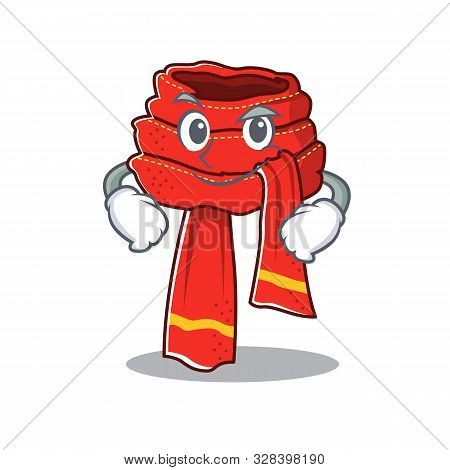 Smirking Scarf Mascot Isolated In The Cartoon