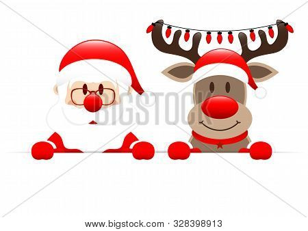 Santa Claus And Reindeer With Christmas Lights Holding Horizontal Banner