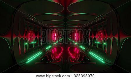 Endless Futuristic Scifi Science-fiction Alien Space Tunnel Corridor Space Hangar 3d Illustration Ba