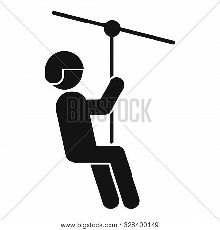 Funny Zip Line Icon. Simple Illustration Of Funny Zip Line Vector Icon For Web Design Isolated On Wh