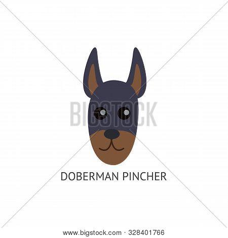Doberman Pincher Face, Dog Breed Card Flat Cartoon Vector Illustration Isolated.