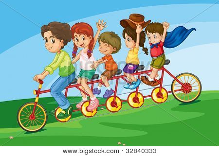 Cartoon of a family riding on a long bicycle - EPS VECTOR format also available in my portfolio.