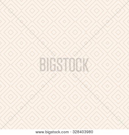 Vector Geometric Seamless Pattern With Squares, Diamonds, Rhombuses, Thin Lines, Grid. Abstract Whit