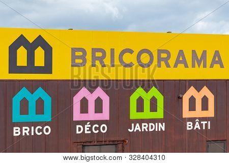 Guilherand-granges, France - October 17, 2019. Logo And Building Of Bricorama Home Improvement Store