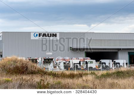Guilherand-granges, France - October 17, 2019. Logo And Building Of Faun Collection Vehicle Manufact