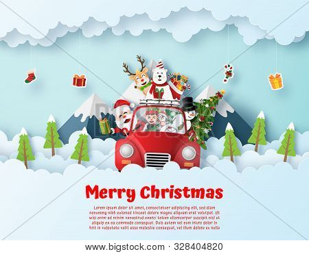 Origami Paper Art Postcard Of Santa Claus And Friend Driving Christmas Red Car On The Sky, Merry Chr