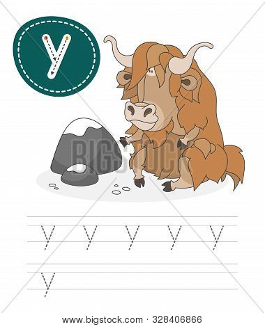 Learning To Write A Letter - Y. A Practical Sheet From A Set Of Exercises Game For Kids. Cartoon Fun