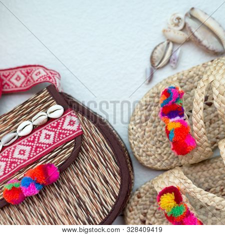 Bohemian Straw Wicker Bag And Slippers. Boho Stile Mosk Up.