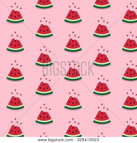 Watermelon Pattern On Pink Background. Vector Watermelon Background With Black Seeds. Seamless Water