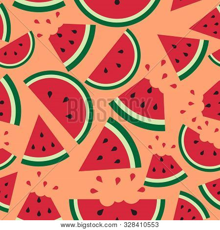 Watermelon Pattern On Orange Background. Vector Watermelon Background With Black Seeds. Seamless Wat
