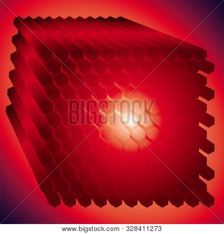 Nuclear Reactor Rods Abstract Image. . Noise Structure With Hexagons. Vector Image