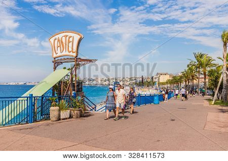 Nice Cote D Azur. France. June 20 2019. A View Of The Beach Promenade Des Anglaise In Nice In Cote D