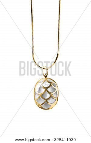 Elegant Nacre Pendant Hanging On Gold Chain On White Background