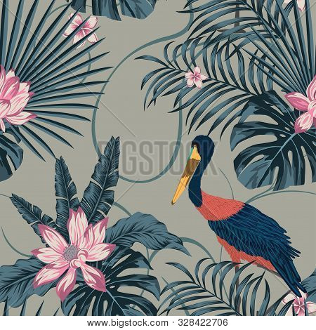 Wild Jungle Tropical Island Painted In Abstract Color. Beautiful Rare Bird Stork In Uncommon Exclusi