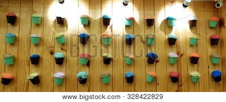 February 2019, Natural Ice Cream Parlor, India, Collection Of Creative Ice Cream Cups Made Of Multi-