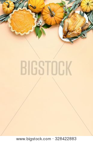 Thanksgiving Dinner Invitation Concept Or Mock Up, Top Down View On Autumn Traditional Food Decorate