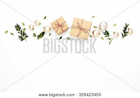 Christmas Or New Year Background With Gift Boxes And Christmas Tree Decorations, Flat Lay Arrangemen