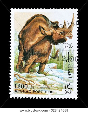 Cancelled Postage Stamp Printed By Afghanistan, That Shows Woolly Rhinoceros, Circa 1998.