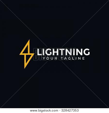 Lightning Bolt Thunder Electric Power Energy Logo Design Template