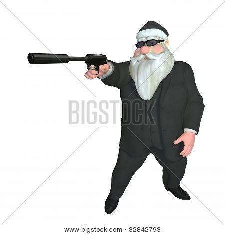 Secret Agent Santa. Santa assassin dressed in a suit holding out a gun with a silencer. Standing in a spy pose. Bah Humbug series. poster