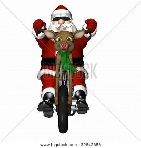 Santa looking cool with a bit of an attitude on his reindeer concept chopper. Antler handlebars red nose headlight and engine made of chrome and presents. poster