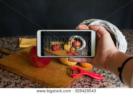 Stock Photo Of A Smartphone Taking A Picture Of A Fruit Still Live. Health, Food