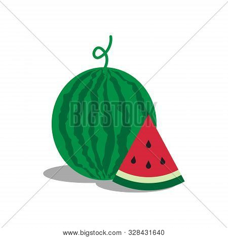Watermelon Icon. Watermelon Icon Vector Flat Illustration For Graphic And Web Design Isolated On Whi