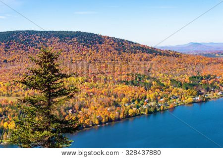 View Over Lyster Lake From The Top Of Mount Pinacle, In The Autumn Season.
