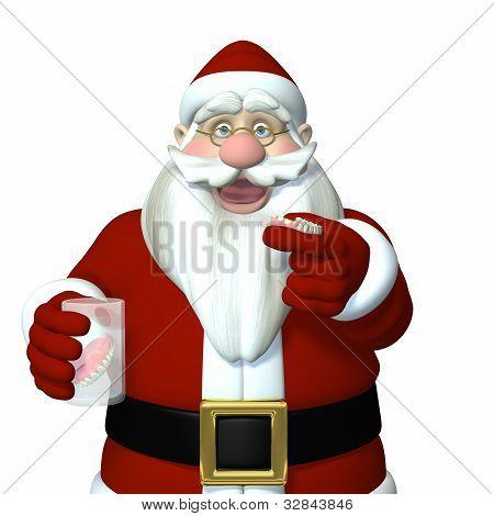 Santa Caught Putting In His Dentures