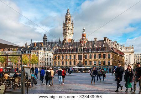 LILLE, FRANCE - October 11, 2019: street view of downtown in Lille, France