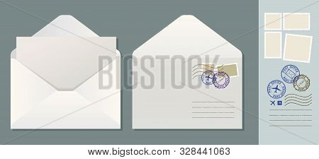 Open Envelope With Letter. White Paper Envelope With Postage Stamps Vector Illustration.