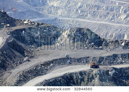 Dump truck in the asbestos quarry