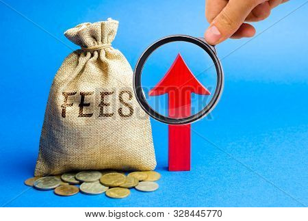 Money Bag With The Word Fees And Up Arrow. Duty Increase Concept. Trade Wars. Import And Export Quot