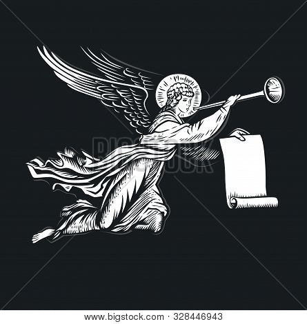Llustration Of The Angel God. Black And White Vector Objects.