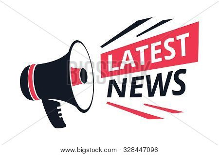 Latest News Isolated Icon, Megaphone Or Bullhorn, Breaking Report Vector. Info Announcement And Tv O
