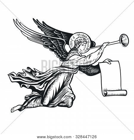 Llustration Of The Angel God. Vector Illustration. Black And White Vector Objects.