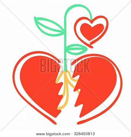 poster of Vector metaphor of abstract split heart, between the parts which sprouted sprout of new heart-flower.