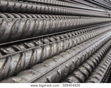 Bundle Reinforcing Bar. Steel Reinforcement. Industrial Background. Close Up View