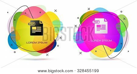 Color Pdf File Document. Download Pdf Button Icon Isolated On White Background. Pdf File Symbol. Abs
