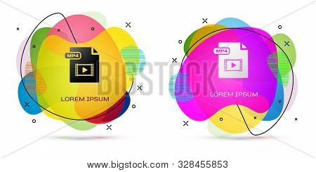 Color Mp4 File Document. Download Mp4 Button Icon Isolated On White Background. Mp4 File Symbol. Abs
