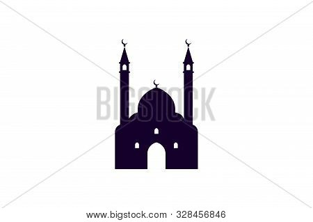 Mosque Muslim Silhouette Icon. Islamic Masjid Stencil Religious Template Isolated On White Backgroun
