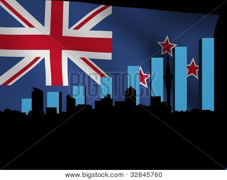 Auckland skyline and graph over New Zealand flag illustration