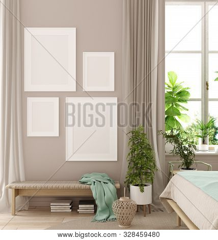 Mockup Poster In Bedroom, Scandinavian Style, 3d Illustration